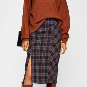 Free People See You Glow Plaid Skirt Size 0 NWT